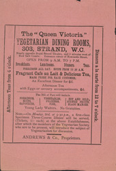 Advert for the Vegetarian Society, reverse side